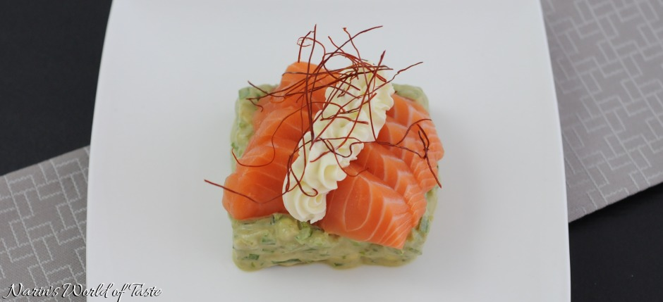Salmon Sashimi on Avocado Tartare with Wasabi Creme