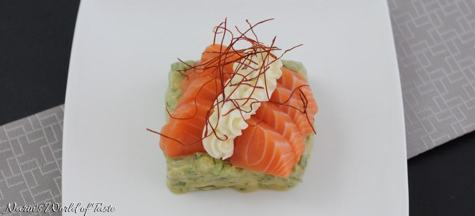 Salmon Sashimi on Avocado Tartare with Wasabi Creme