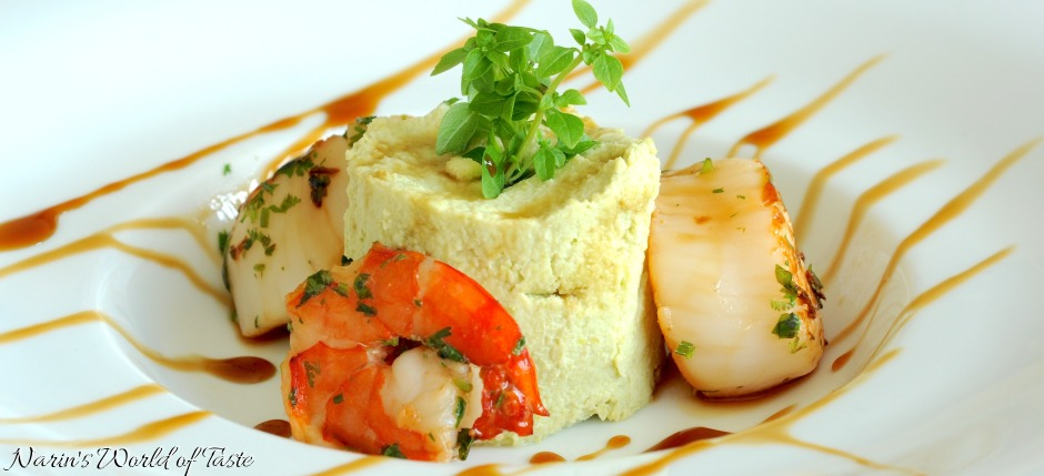 Seafood on Edamame Puree & Soy Reduction