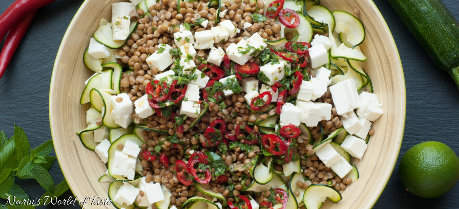 Zucchini-Lentil-Feta Salad with Lime-Mint Dressing