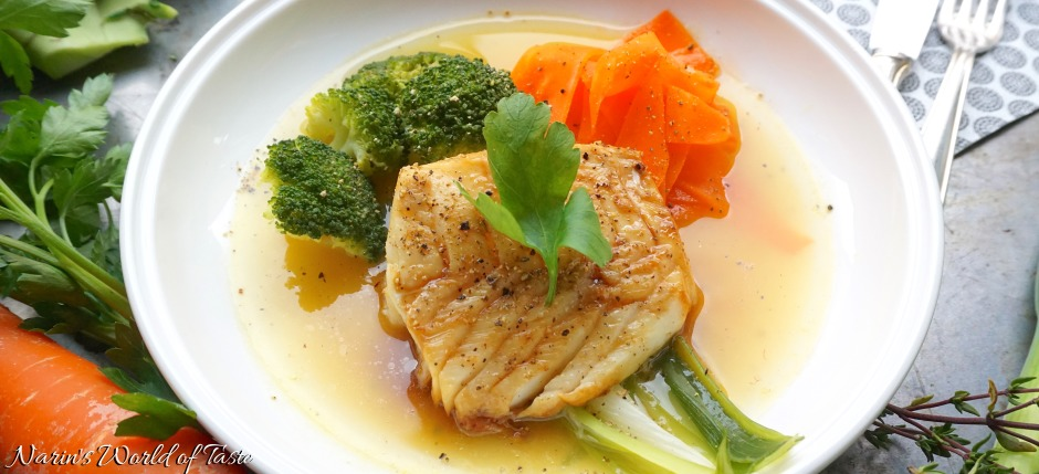 Glazed Codfish and Steamed Veggies on Yellow Tomato Broth