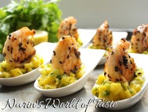 Mango & Herb Salad with Grilled Chilli Sesame Prawns