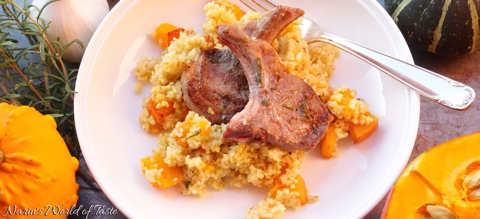 Hokkaido-Bulgur-Risotto with Marinated Lamb Chops