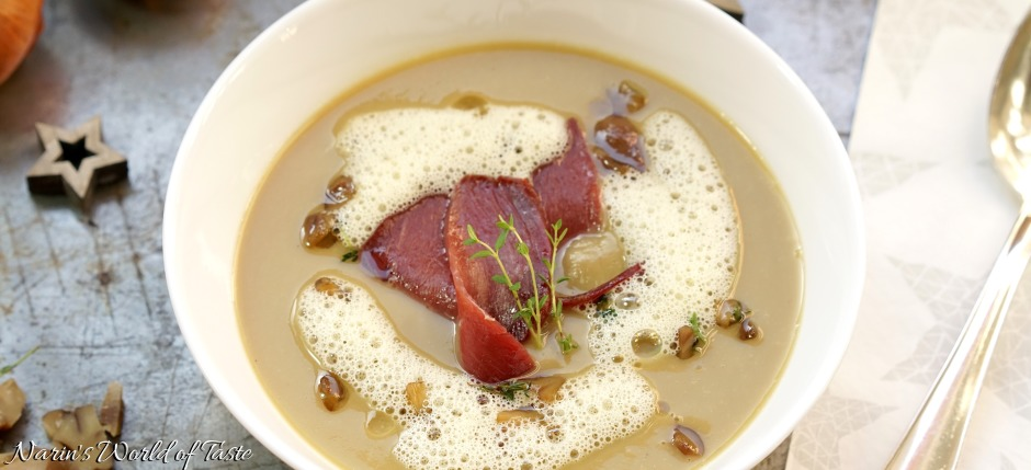 Chestnut Soup with Smoked Wild Duck Breast and Orange Foam